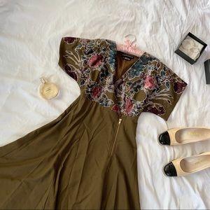 Vintage 90s Velvet Textured Oversized Zip Dress